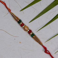 Golden and Multicolor Beads Rakhi