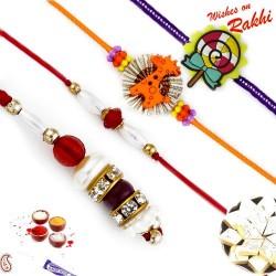 Golden and Pearl Beads Family Rakhi Set with 2 Kids Rakhis