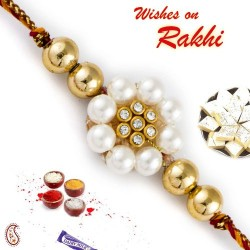 Golden Beads and AD Studded Pearl Rakhi