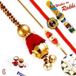 Golden Bells Studded Beautiful Family Rakhi Set