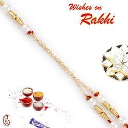 Golden Cylindrical Beads Pearl Rakhi