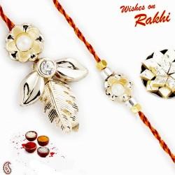 Golden Floral and Leaf Motif Bhaiya Bhabhi Rakhi Set