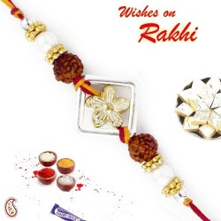 Golden Floral Style Rakhi with Dual Rudraksh
