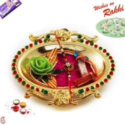 Golden Polish Meena work Rakhi Thali with Rakhi