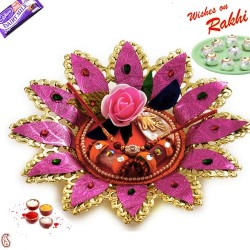 Golden Polish Pink Floral Rakhi Thali with Rakhi