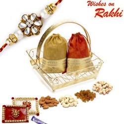 Golden Tray Style Dryfruit Gift Pack with 1 Bhaiya Rakhi