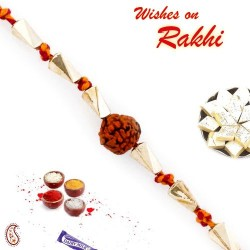Golden Twisted Beads Rudraksh Rakhi
