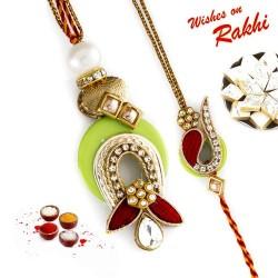 Gorgeous AD Studded Lime Green Bhaiya Bhabhi Rakhi Set