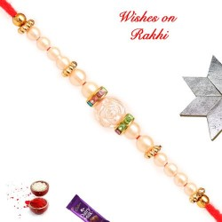 Hand Crafted Pearls and AD Rakhi