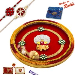 Handcrafted Ganesh Motif Thali Hamper with Set of 2 Rakhis