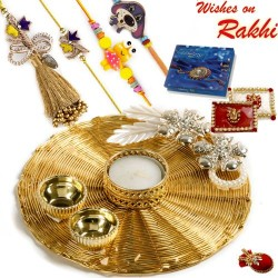 Handcrafted Mesh work Golden Rakhi Pooja Thali with Family Rakhi Set