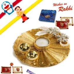 Handcrafted Metallic Mesh Design Rakhi Thali Hamper with Set of 2 Kids Rakhis