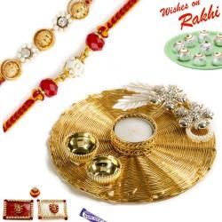 Handcrafted Metallic Mesh Design Rakhi Thali Hamper with Set of 2 Rakhis