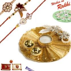 Handcrafted Metallic Mesh Design Rakhi Thali Hamper with Set of 3 Zardosi Rakhis