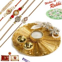 Handcrafted Metallic Mesh Design Rakhi Thali Hamper with Set of 5 Premium Rakhis