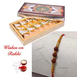 Kaju Katli + Rolls with Handcrafted Rudraksh Rakhi