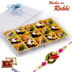 Kaju Pista Heart and Anjeer Kohinoor Sweets with FREE 1 Rakhi