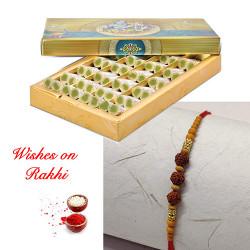 Kaju Pista Rolls with Rudraksh Rakhi