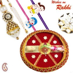 Kalash Motif Pooja Thali with Family Rakhi Set