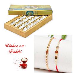 Kesar Katli with Rudraksh and Pearls Rakhi