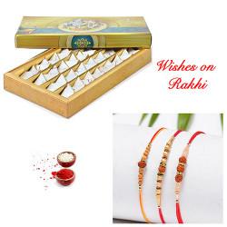 Kesar Katli with Set of 3 Premium Rakhis