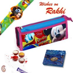 Kids Mickey Mouse Print Pouch Box and Rakhi Hamper