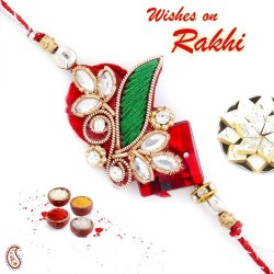 Kundan Studded Beautiful Zardosi Rakhi