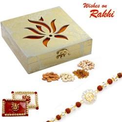 Laser Cut Lotus Design Gift Box and Rakhi Hamper