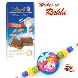Lindt Swiss Classic Almond Chocolate with Kids Rakhi