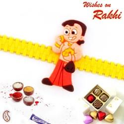 Lovely Chhota Bheem Yellow Strap Kids Rakhi