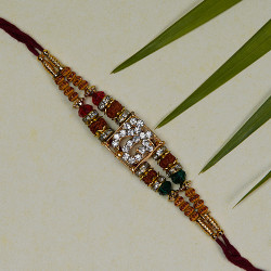 Lovely OM Rudraksh Rakhi with Multicolor Beads