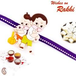 Lovely Purple Band Bal Hanuman Motif Kids Rakhi