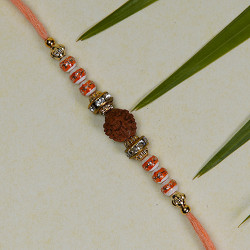 Lovely Rudraksh Beads and AD Stud Rakhi