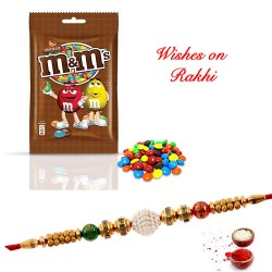 M & M Chocolate with Fancy Rakhi for Brother