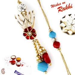 Metal Foil Floral Design Bhaiya Bhabhi Rakhi Set with Bead Danglers