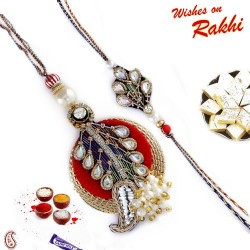 Metal Foil Kundan and Pearl Bhaiya Bhabhi Rakhi Set