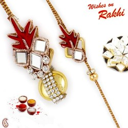 Beautiful Beads Bhaiya Bhabhi Rakhi with 2 Kids Rakhi