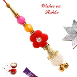 Multicolor Beads Pearls and Ghunghroo Studded Lumba Rakhi
