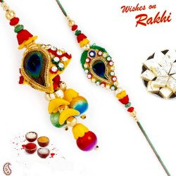 Multicolor Beads Studded Bhaiya Bhabhi Rakhi with 2 Kids Rakhis