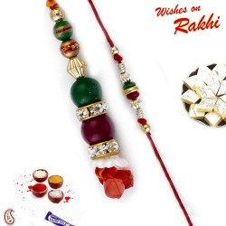Multicolor Beads Studded Bhaiya Bhabhi Rakhi Set