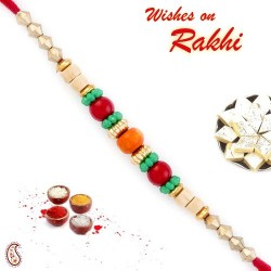 Multicolor Circular Beads Studded Thread Rakhi