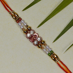 OM AD and Beads Studded Rakhi