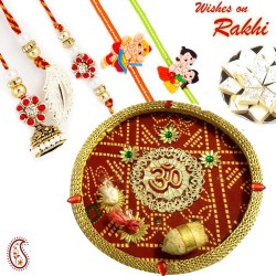 OM Motif Bandhani Pooja Thali with Family Rakhi Set