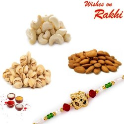 OM Rakhi and Dryfruits Set