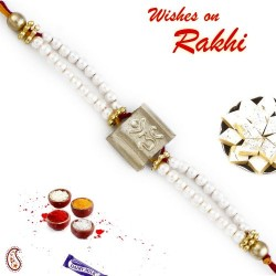 OM Rakhi with Freshwater White Pearls