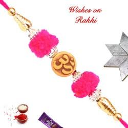 OM with Gotta and Beads Work Rakhi