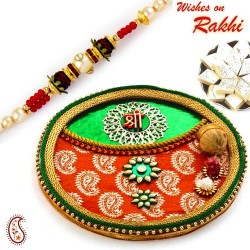 Orange and Green SHREE Motif Pooja Thali with Bhaiya Rakhi