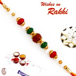 Pearl and Beads Studded Beautiful Rudraksh Rakhi