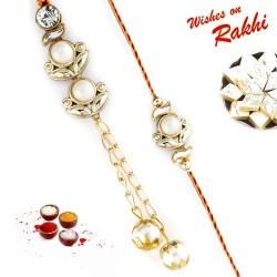 Pearl Chandelier and Chain Style Lovely Bhaiya Bhabhi Rakhi Set