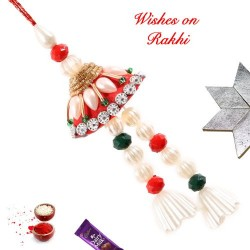 Pearls AD and Stones Studded Lumba Rakhi